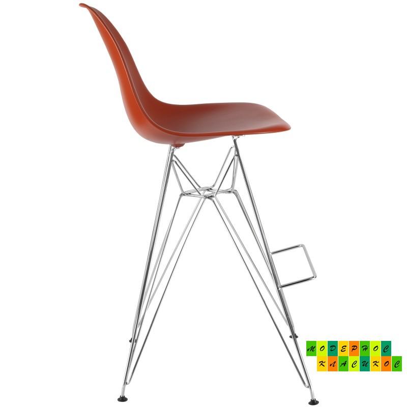 Стул барный высокий Тауэр, ножки хромированные, пластиковое сиденье, цвет оранжевый
