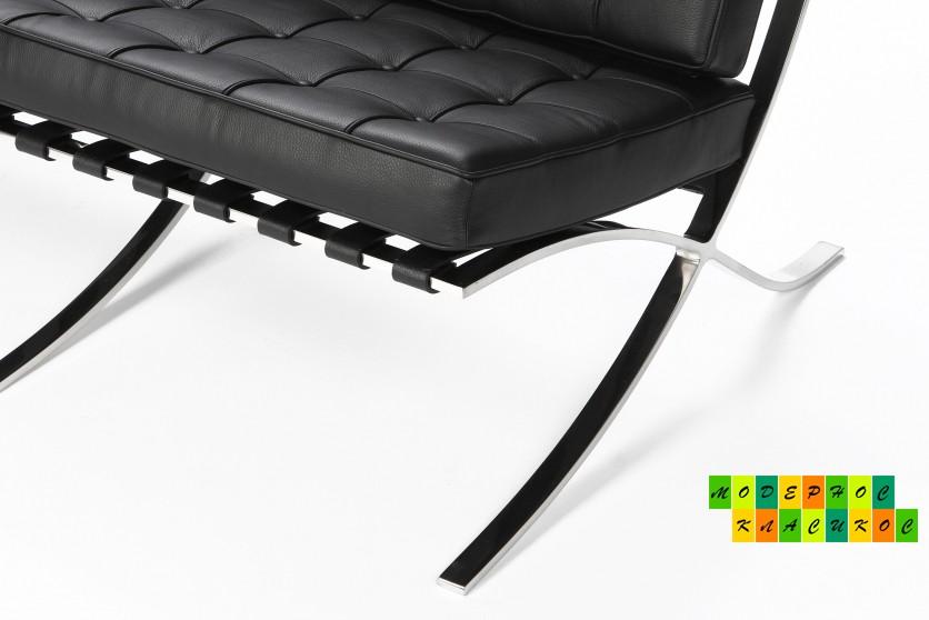 Крісло Барселона, екошкіра, нержавіюча сталь, колір чорний