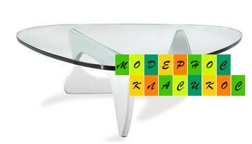 Стол журнальный Ногучи, стеклянный, основание деревянное, цвет белый