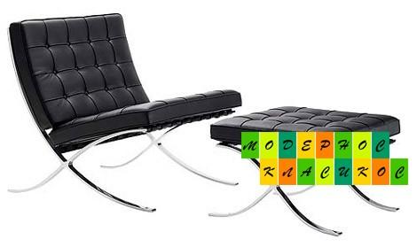 Кресло Барселона с оттоманкой под ноги, экокожа, цвет черный
