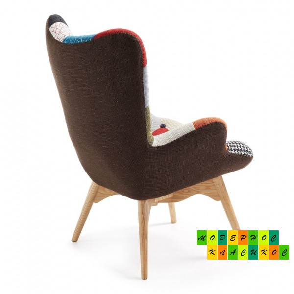 Кресло Флорино, мягкое, дерево бук, цвет пачворк