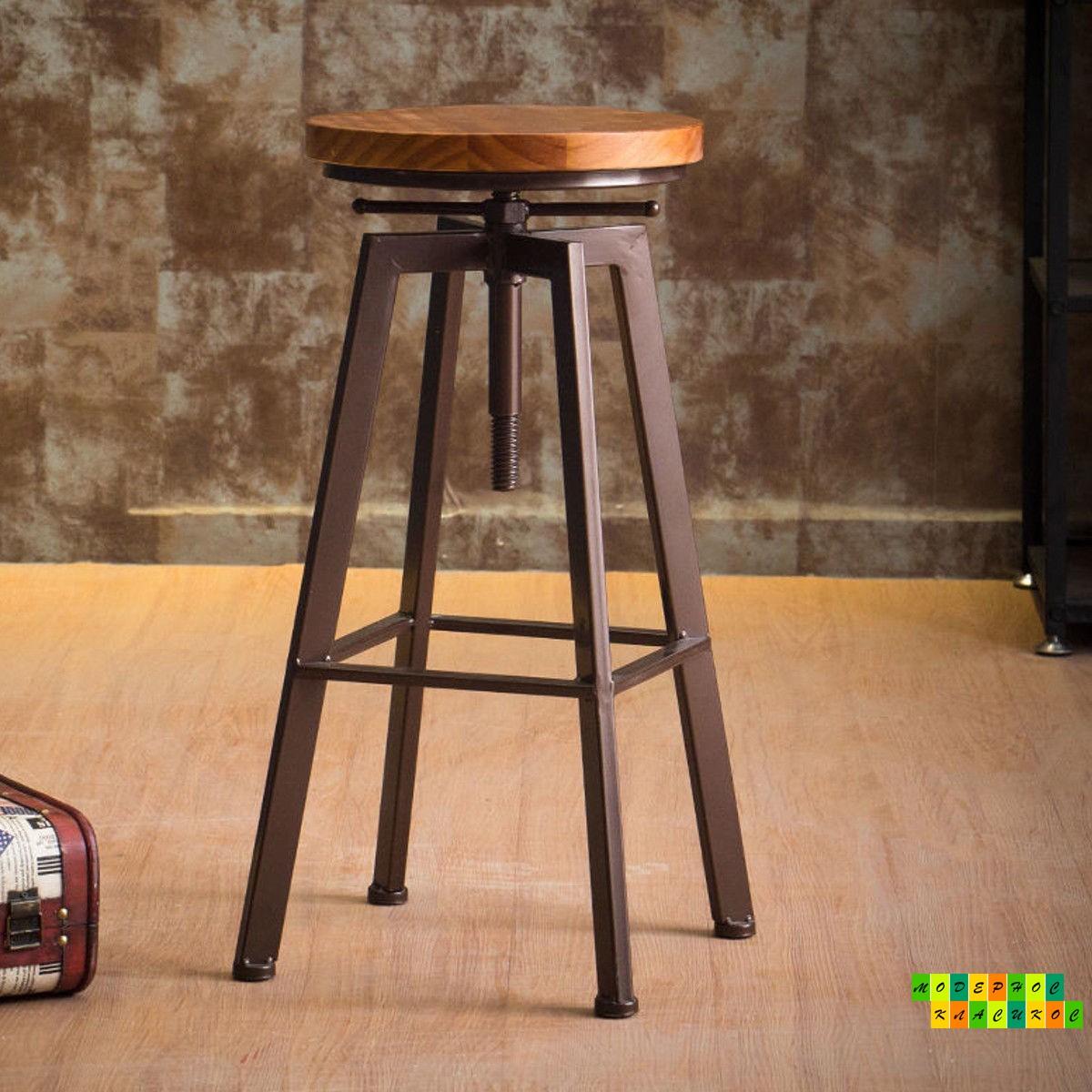 Стілець барний високий Делія, метал, дерево, колір чорний