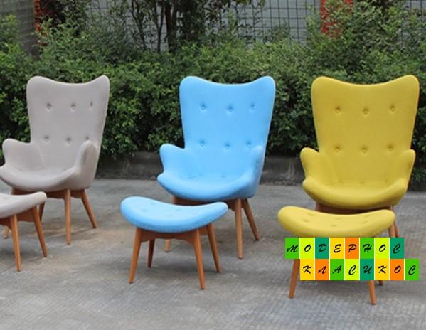 Кресло Флорино с пуфом под ноги, цвет голубой