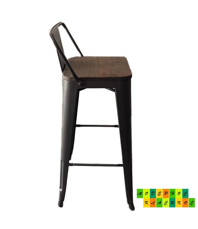 Стул барный Толикс Вуд, высокий, матовый черный