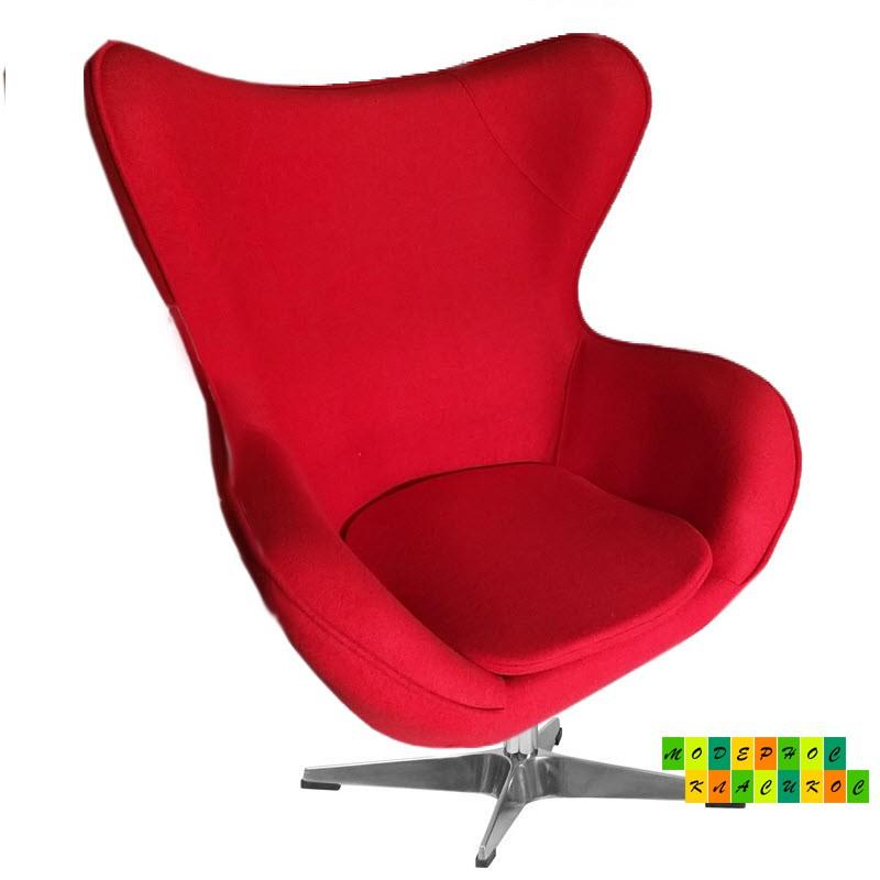 Кресло Эгг (Egg), ткань кашемир, красного цвета