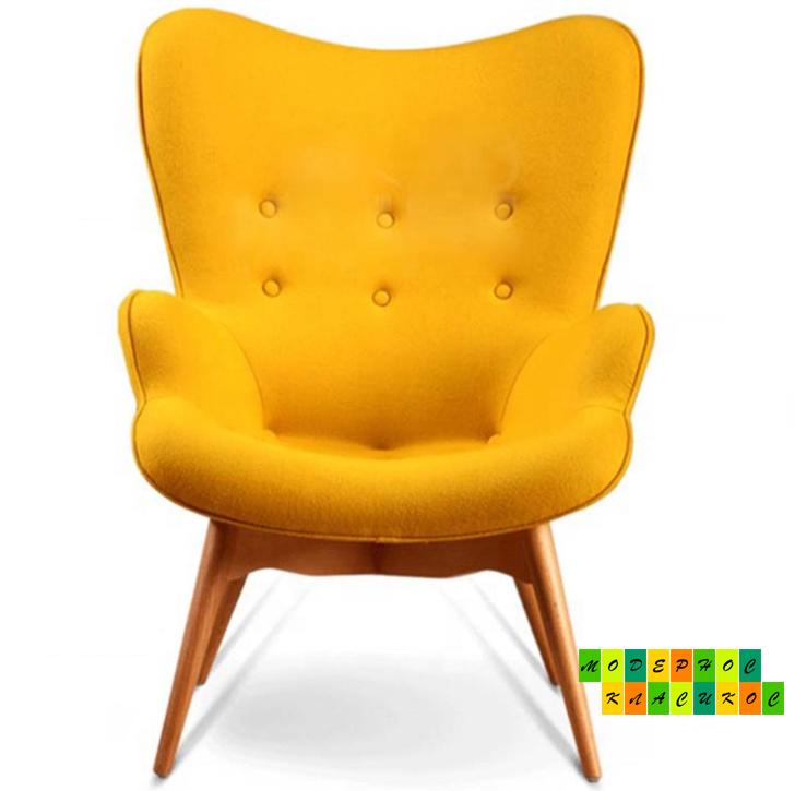 Кресло Флорино, мягкое, дерево бук, цвет желтый