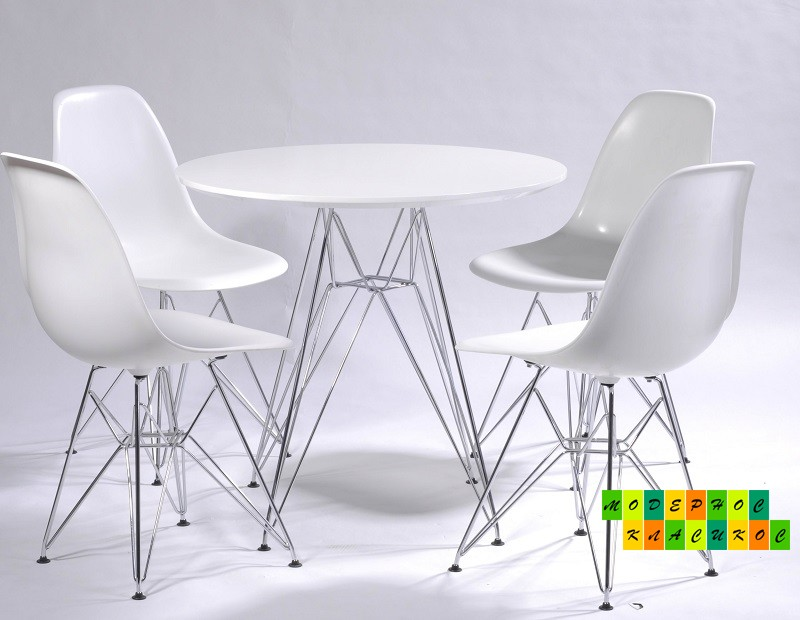 Стул Тауэр, пластиковый, хромированный, цвет белый