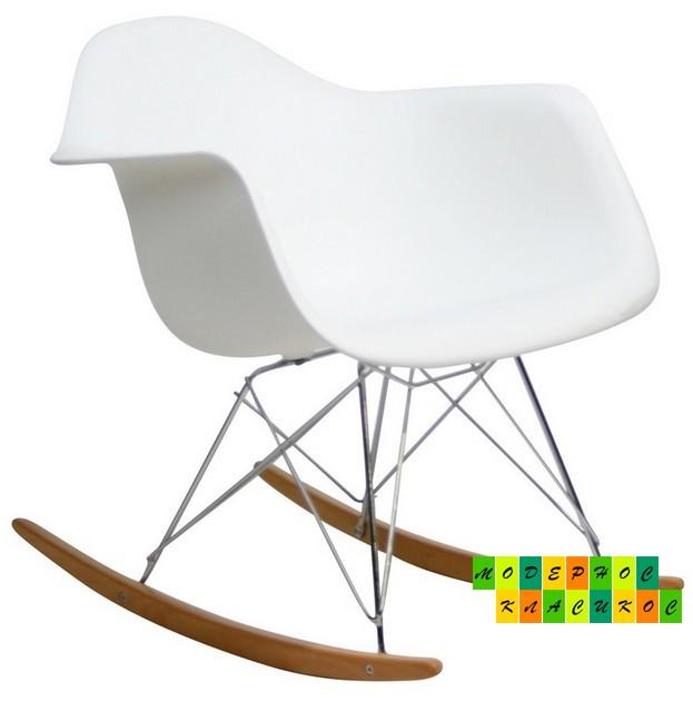 Кресло - качалка Тауэр R, полозья деревянные, металл, пластиковое сиденье белого цвета