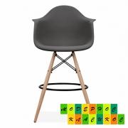 Стул барный высокий Тауэр Вуд Eames, деревянные ножки буковые, сиденье пластик, цвет черный