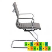 Кресло офисное Алабама Х конфереционное, хромированное, кожзам, цвет серый