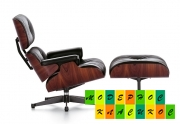 Кресло кожаное с оттоманкой Релакс, цвет черный