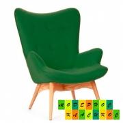 Кресло Флорино, мягкое, дерево бук, цвет зеленый