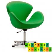 Кресло Сван, металл, ткань, цвет зеленый