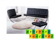 Комплект диван 3 местный+кресло+оттоманка Барселона, цвет черный