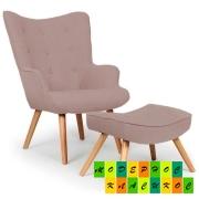 Кресло Флорино с пуфом под ноги, цвет коричневый