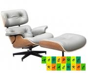 Кресло с оттоманкой Релакс, кожа, цвет серый