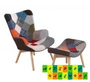 Кресло Флорино с пуфом под ноги, цвет пачворк