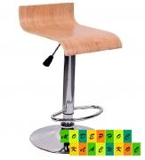 Стул барный высокий Мадера, хромированный, деревянное сиденье