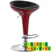 Стул барный высокий Марио, пластик темно-красный, кожзам черного цвета
