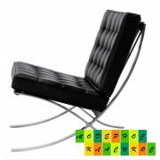 Кресло Барселона, кожзам, нержавеющая сталь, цвет черный